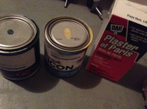 To make the paint you take 1 cup of latex paint 1/3 cup of water and 1/3 plaster of paris.